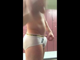DoodleHobbitt Strips, Shows off and plays in Gym Lockerroom – Soft to Hard
