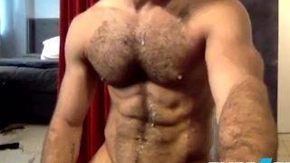 Flirt4Free Guys Cam Stud Diego Sans Unloads Cum On His Sexy Hairy Chest
