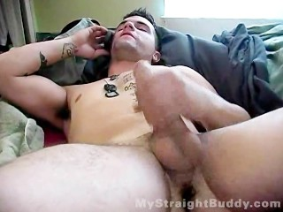 Friend watches his buddy jerk off while talking to his Gf