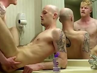 Ginger punk tattooed fuck bald punk bathroom mirror hotel