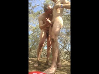 Older Younger Daddy and Son Suck and Wank in the Woods – huge cumshot!!