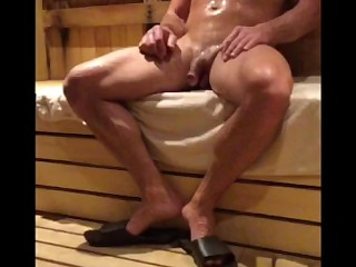 Str8 guy gets hard looking (covers dick) NO AUDIO