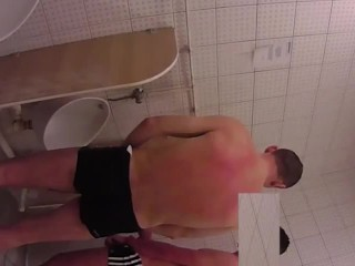 Swimming Pool Urinal Jerk Off show and Helping Hand