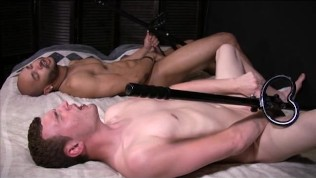 Two guys fuck themselves with dildos on poles – Gay Amateur Spunk