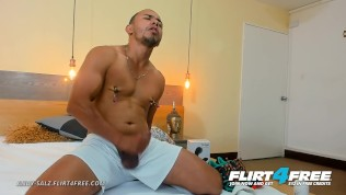 Flirt4Free – Andy Salz – Big Cocked Hunk w Nipple Clamps Shoots a Big Load