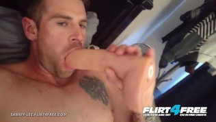 Flirt4Free – Sammy Lee – Hottie Loves Playing with Dildo and His Big Cock
